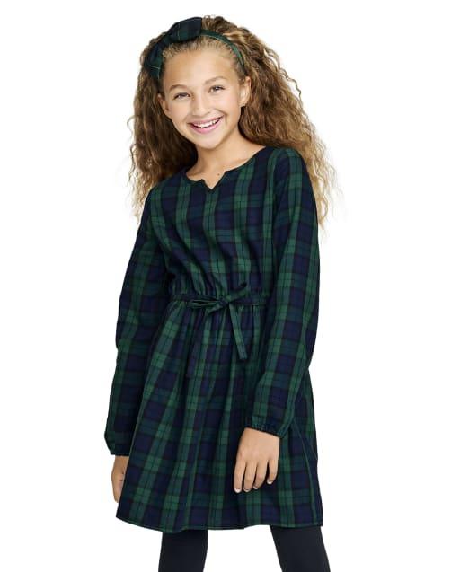 Vestido camisero de sarga a cuadros de manga larga para niñas