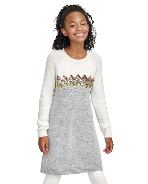 Vestido suéter de lentejuelas de manga larga para niñas