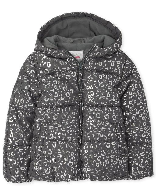 Girls Long Sleeve Foil Leopard Hooded Puffer Jacket
