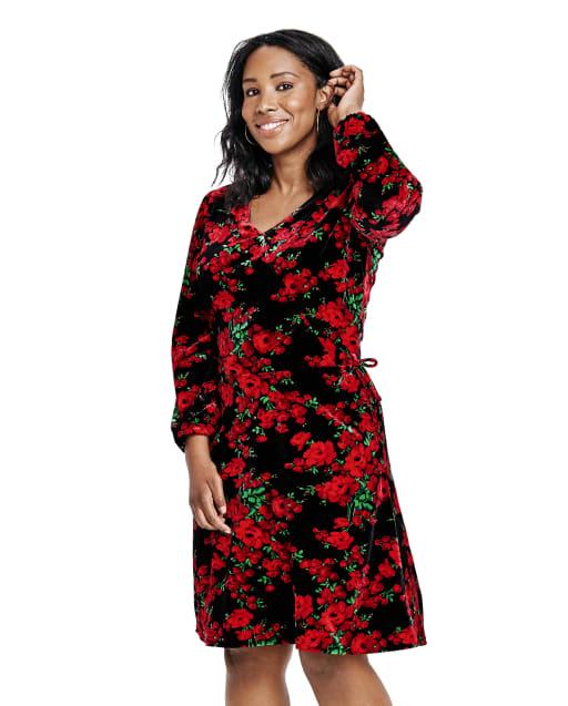 Vestido cruzado a juego de punto de terciopelo floral de manga larga para mujer Christmas Mommy And Me