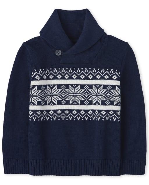 Toddler Boys Long Sleeve Christmas Fairisle Shawl Neck Sweater