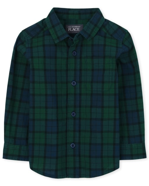Baby And Toddler Boys Long Sleeve Plaid Poplin Button Down Shirt