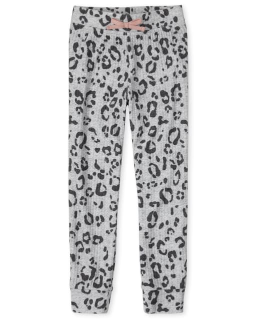 Girls Leopard Waffle Knit Cozy Jogger Leggings