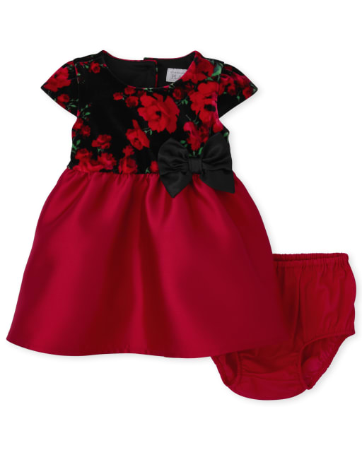 Baby Girls Christmas Mommy And Me Short Sleeve Velour Floral Knit To Woven Matching Dress And Bloomers Set