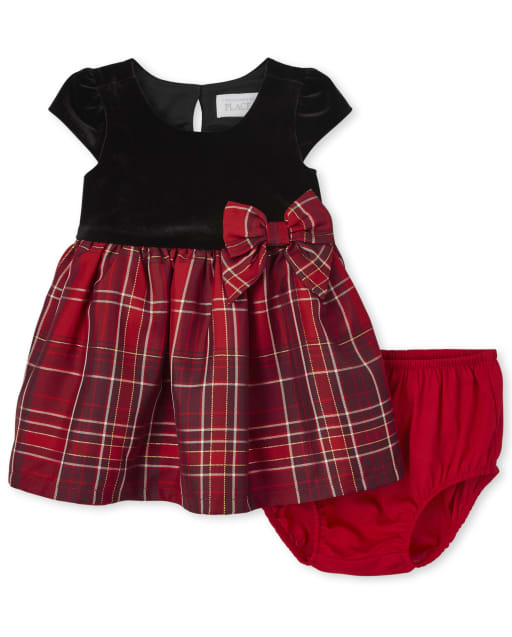 Baby Girls Christmas Mommy And Me Sleeveless Plaid Velour Knit To Woven Matching Dress And Bloomers Set