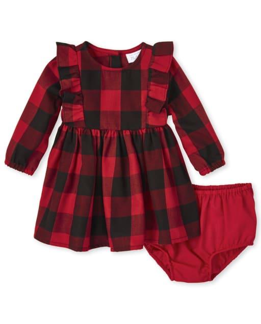 Conjunto de vestido y bombachos de franela de franela a cuadros de búfalo de manga larga a juego de Navidad para bebés y niñas