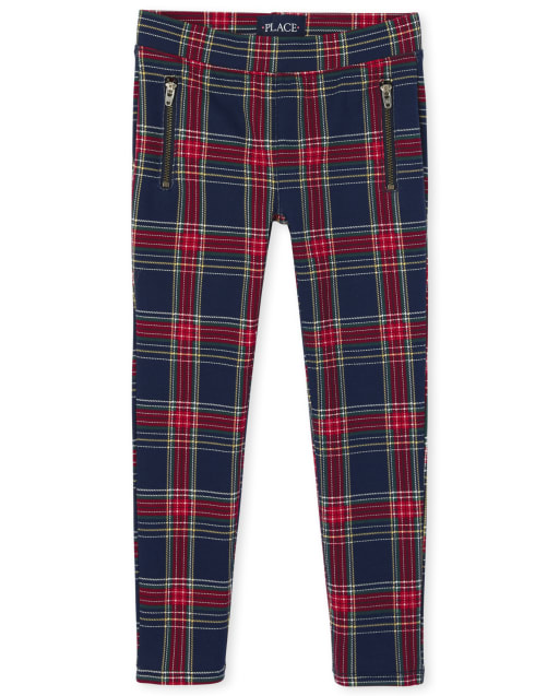 Girls Print Zip Ponte Knit Pull On Jeggings