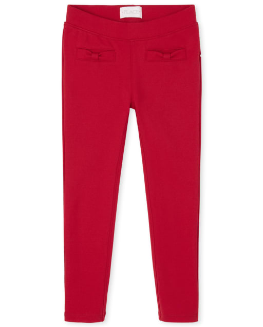 Girls Bow Ponte Knit Pull On Jeggings