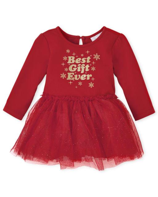 Baby Girls Christlas Long Sleeve Glitter 'Best Gift Ever' Knit Bodysuit Dress