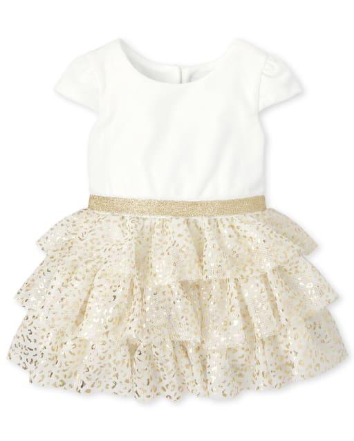 Baby Girls Christmas Short Sleeve Foil Leopard Print Velour Knit To Woven Dress