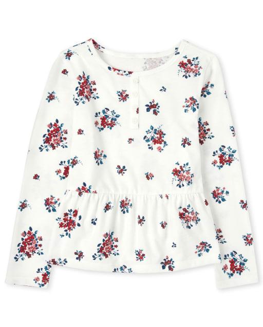 Girls Long Sleeve Floral Peplum Top