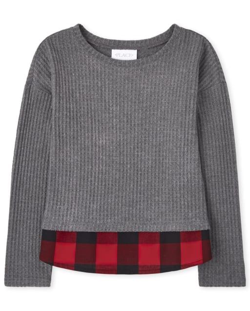 Girls Long Sleeve Buffalo Plaid Thermal 2 In 1 Sweater