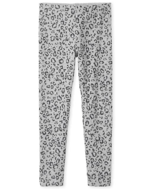 Girls Glitter Leopard Knit Leggings
