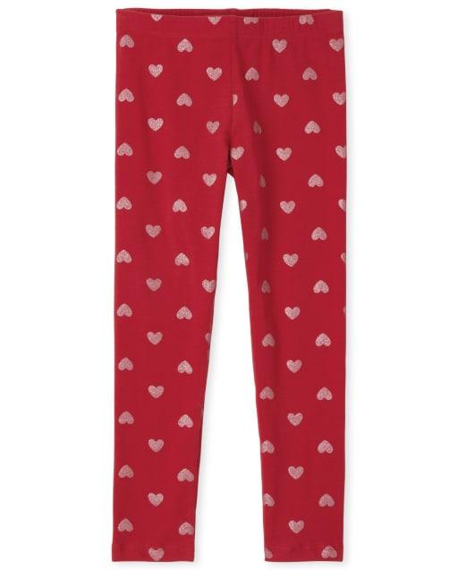 Girls Valentine's Day Glitter Heart Print Knit Leggings