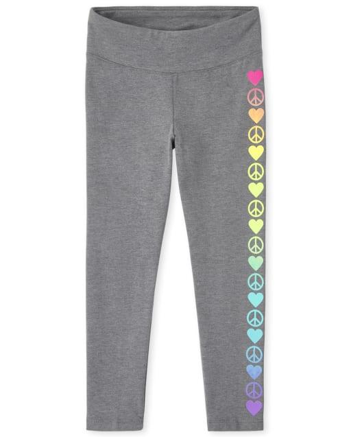 Girls Active Rainbow Heart Hi-Rise Knit Leggings
