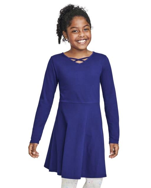 Girls Long Sleeve Cut Out Knit Skater Dress