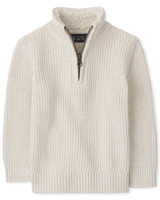 Baby And Toddler Boys Long Sleeve Sherpa Half Zip Mock Neck Sweater