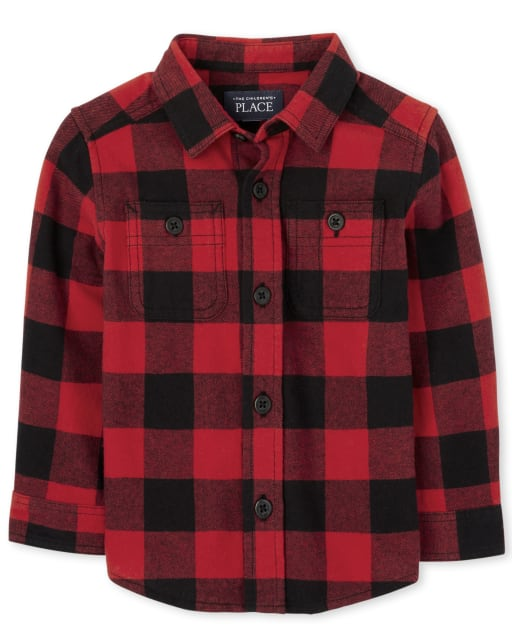 Baby And Toddler Boys Long Sleeve Buffalo Plaid Flannel Button Down Shirt