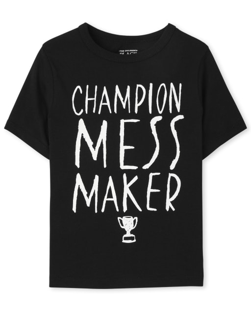 Baby And Toddler Boys Short Sleeve Mess Maker Graphic Tee