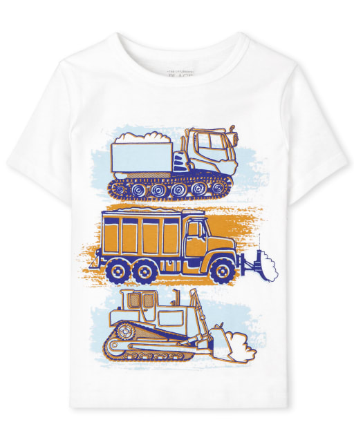 Baby And Toddler Boys Short Sleeve Construction Vehicle Graphic Tee