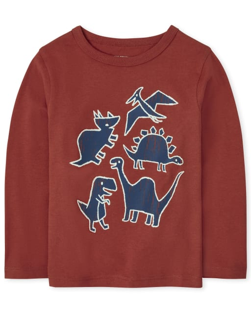 Baby And Toddler Boys Long Sleeve Dino Graphic Tee