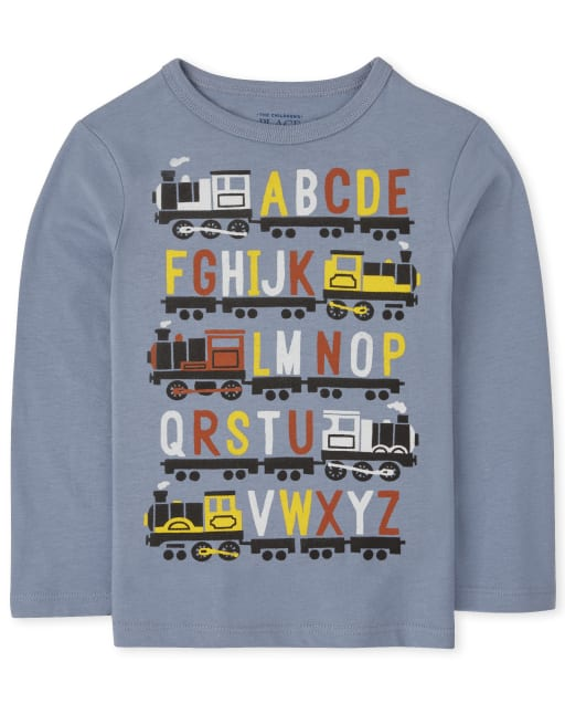 Baby And Toddler Boys Long Sleeve Alphabet Graphic Tee