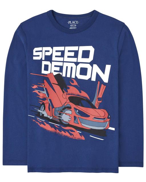 Boys Long Sleeve Speed Demon Graphic Tee
