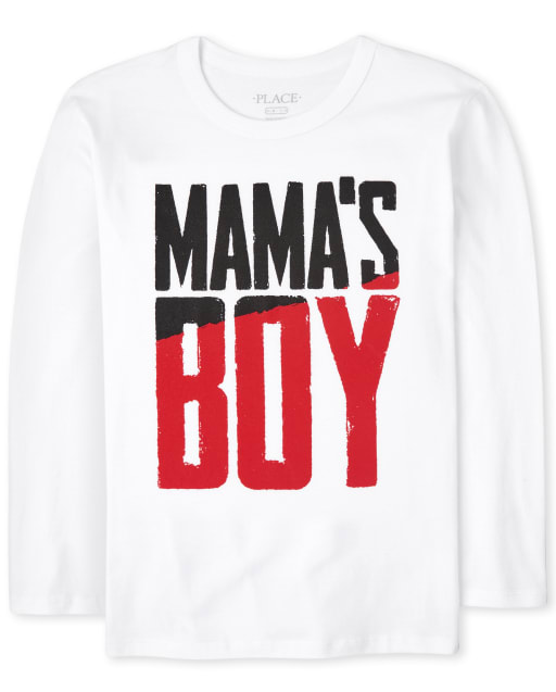 Boys Long Sleeve Mama's Boy Graphic Tee