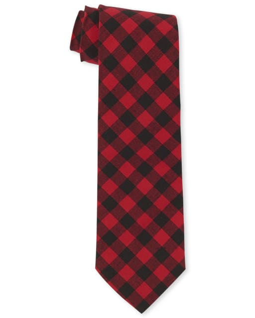 Boys Buffalo Plaid Tie