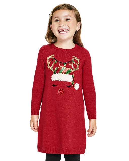 Baby And Toddler Girls Long Sleeve Christmas Reindeer Knit Sweater Dress