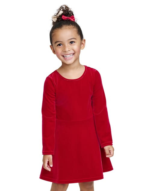 Baby And Toddler Girls Christmas Long Sleeve Velour Cut Out Dress