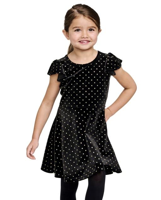 Vestido de terciopelo con lunares brillantes y manga corta con volantes para bebés y niñas pequeñas