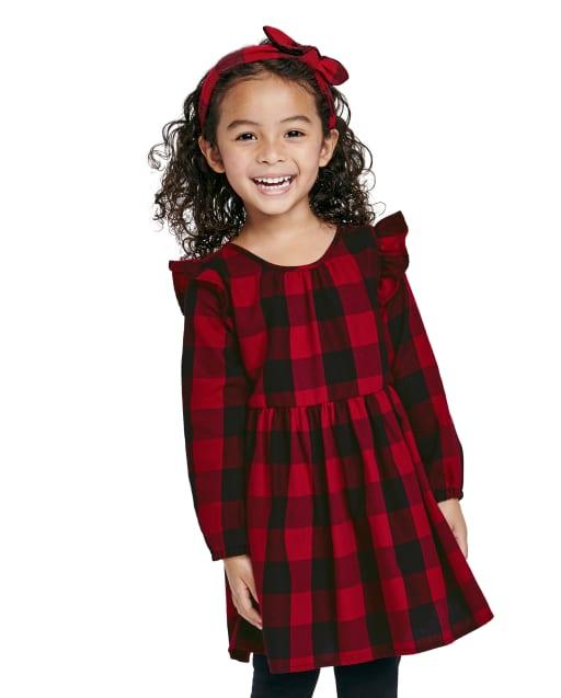 Vestido de camisa de sarga a cuadros de búfalo de manga larga a juego para niñas pequeñas