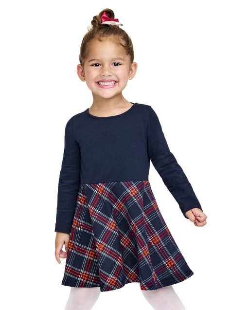 Baby And Toddler Girls Long Sleeve Plaid Bow Back Knit Skater Dress