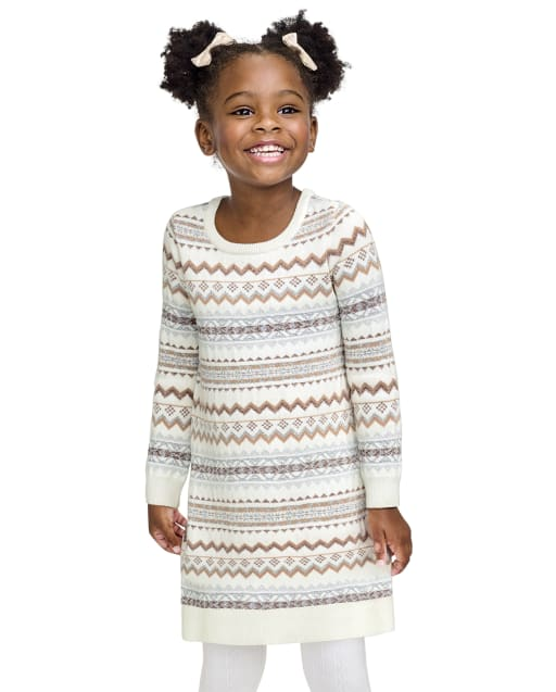 Baby And Toddler Girls Long Sleeve Fairisle Knit Sweater Dress