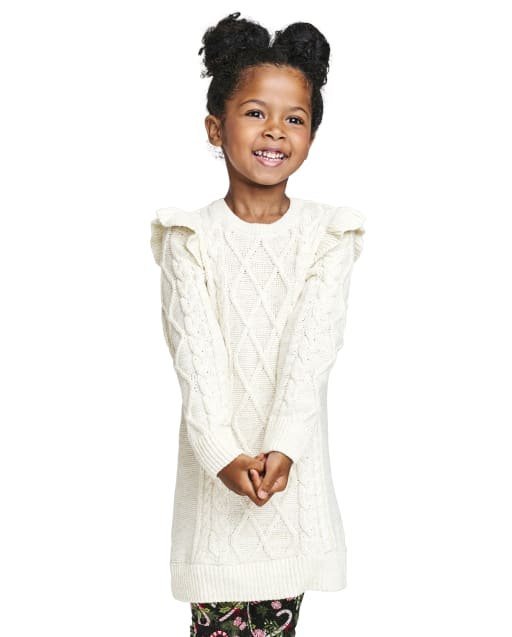 Baby And Toddler Girls Long Sleeve Ruffle Sweater Dress
