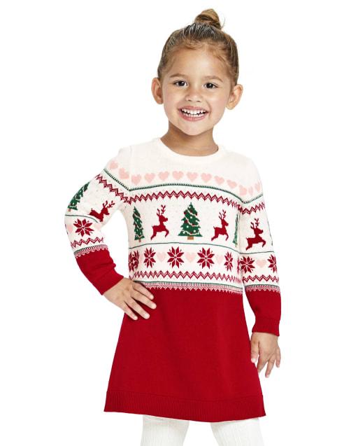 Baby And Toddler Girls Long Sleeve Christmas Fairisle Knit Sweater Dress