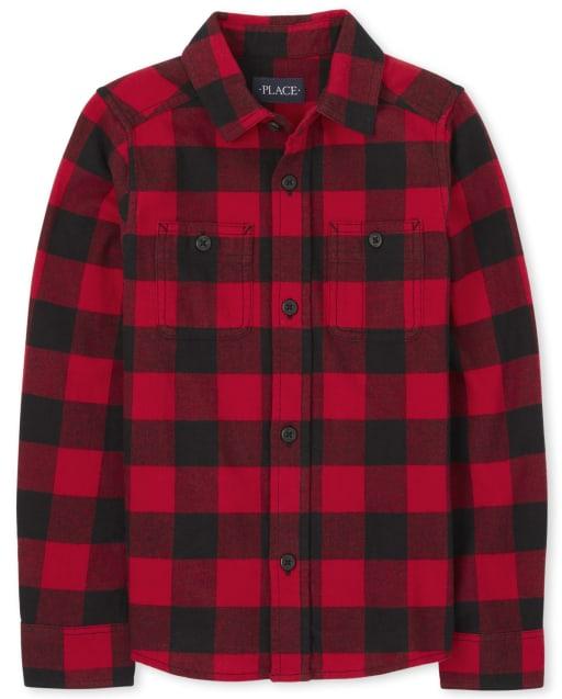 Boys Long Sleeve Buffalo Plaid Flannel Button Down Shirt