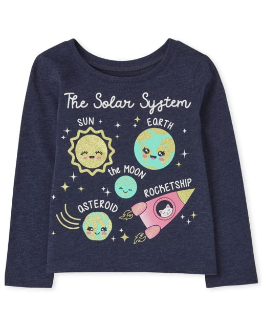 Baby And Toddler Girls Long Sleeve Solar System Graphic Tee