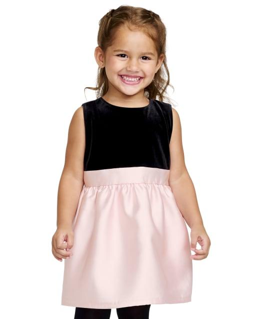 Vestido de punto a tejido de terciopelo sin mangas navideño para bebés y niñas pequeñas