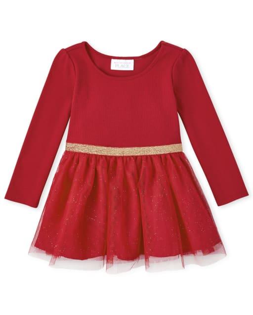 Vestido de punto a tejido con purpurina de manga larga navideña para bebés y niñas pequeñas