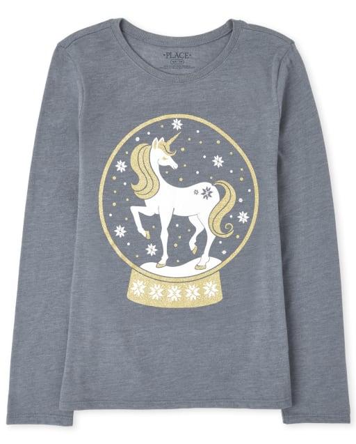 Girls Long Sleeve Unicorn Snow Globe Graphic Tee