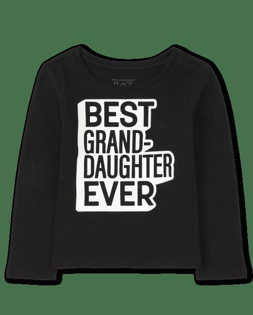 Bebé y niñas pequeñas a juego con la familia de manga larga ' mejor nieta de todos los tiempos ' camiseta gráfica