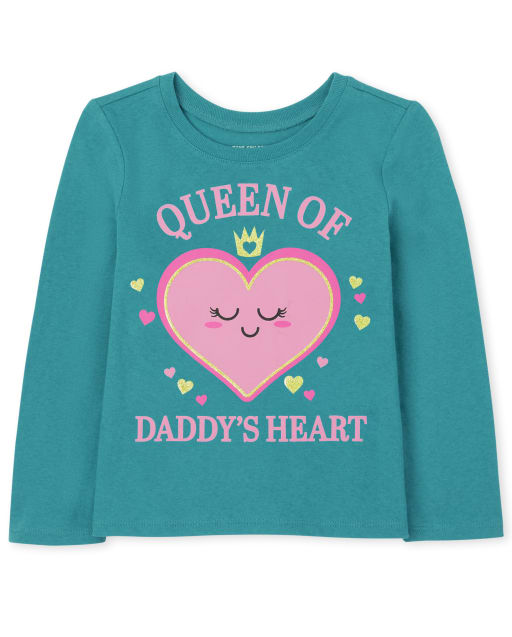 Baby And Toddler Girls Long Sleeve Daddy's Heart Graphic Tee