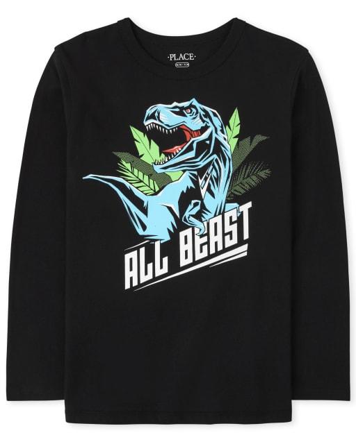 Boys Long Sleeve Dino Beast Graphic Tee