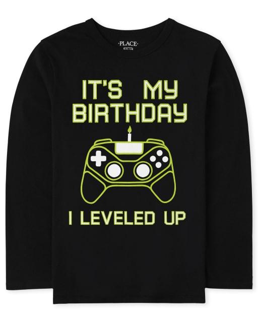 Boys Long Sleeve Birthday Gamer Graphic Tee