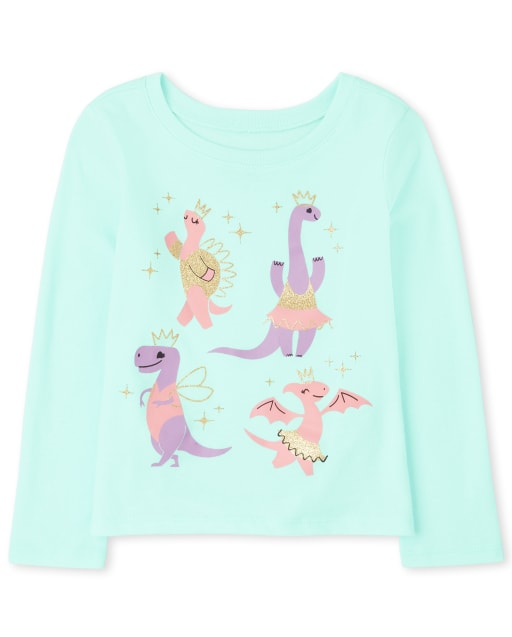Baby And Toddler Girls Long Sleeve Dino Ballet Graphic Tee