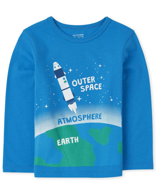 Baby And Toddler Boys Long Sleeve Space Graphic Tee