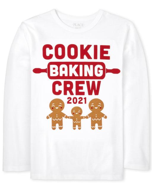 Camiseta unisex con estampado familiar de manga larga para hornear a juego para niños