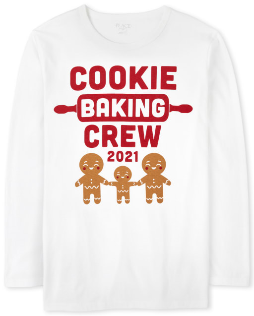Camiseta con gráfico de equipo de panadería de manga larga familiar a juego para adultos unisex